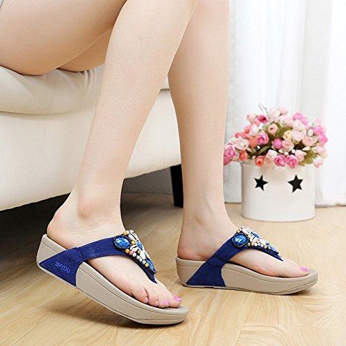 LIXIONG Portable Pantoufles Femme Flip-Flops Vert Caoutchouc Occasionnel Talon Bleu Vert Rose -Chaussures de mode ( Couleur : Rose , taille : EU36/UK4/CN36 ) Bleu