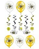 Feste Feiern Majala Mottoparty I 7 Teile All In One Honigbiene Set Luftballon Spiralen Schwarz Gelb Bunt Mädchen Deko Party Happy Birthday