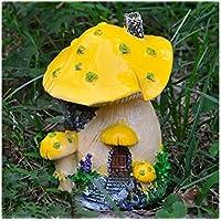 JwlqAy Exterior Interior Resina en Miniatura casa de Setas Micro Paisaje Adornos artesanía decoración del jardín de su casa (Amarillo)