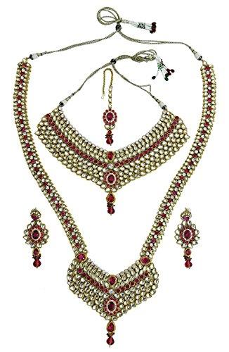 Banithani traditionnelle indienne Goldtone ethnique mariée Collier Set Bijoux Magenta