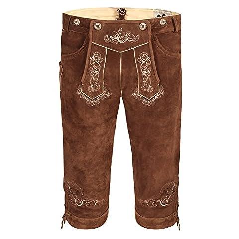 Almbock Trachten-Lederhose Schwabing mittel-braun in Gr. 46 48 50 52 54 56 58 60 - Mittel-braune Trachten-Lederhose für Männer inklusive