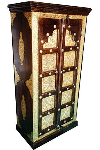 Orientalischer Kleiner Schrank Kleiderschrank Desert 140cm hoch | Marokkanischer Vintage Dielenschrank schmal | Orientalische Schränke aus Holz massiv für den Flur, Schlafzimmer, Wohnzimmer oder Bad - Orientalische Möbel Wohnzimmer Schrank