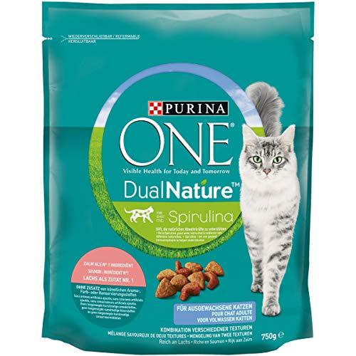 ONE DUAL NATURE für ausgewachsene Katzen Lachs mit Spirulina KatzentrockenfutterBeutel, 750 g