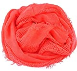 nails-beauty24Mujer Bufanda Bufanda, sola pasada, monocroma, Uni, color naranja (a 200S) con flecos, ropa, bufanda de mujer, mujer toalla