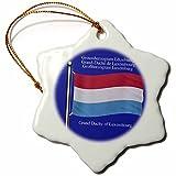 3dRose - Figura Decorativa de Copo de Nieve, diseño de la Bandera de Gran Ducado de Luxemburgo en inglés, luxemburgués, francés, 7,62 cm
