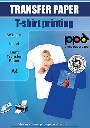 Photo Paper Direct ppd-1–10 A4 Inkjet T-Shirt Transfer Papier Für Licht und weiß Stoff (5 Licht-t-shirt)