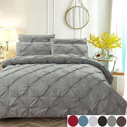 L&U Solid White 100% Baumwolle Stil Seidig 3-Teilige Bettwäsche-Sets/Bettbezug Queen Size,Grey,Queen - Feuer Quilt