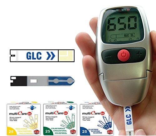 Gima - Multicare In, Dispositivo Diagnostico per il Monitoraggio di Glucosio, Colesterolo e Trigliceridi nel sangue, Kit con: Borsetta, in Nylon, 10 Strisce Glucosio, 1 Penna Pungidito, 10 Lancette e Manuale in Italiano