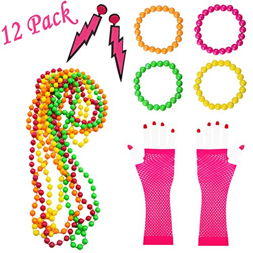 12 Piece 1980s Costume Accessory Set for Women