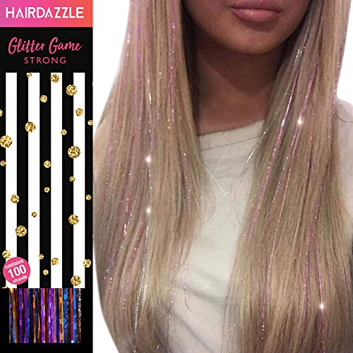 Glitzernde Haarsträhnen, Regenbogen, HAIR DAZZLE - Weihnachtsgeschenk, Accessoires für Meerjungfrau/Einhorn-Haar für Mädchen, Farbe und Glanz verleihen, Geschenke für Mädchen