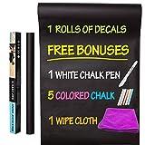 Magicdo Blackboard Tafel Aufkleber, 45 x 200cm selbstklebende Wandaufkleber mit 5 Kreide, 1 Kreide Marker, 1 Wischtuch, Verwendung für Schule und Heim