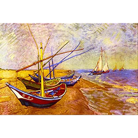 Boats At sainte-maries Tela stampata per tappezzeria o Needlepoint