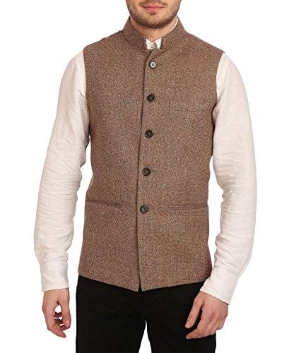 Wintage Men's Tweed Bandhgala Festive Nehru Jacket Waistcoat Brown, Large