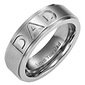 7mm Titanium DAD Ring und Gravur I Love You Dad in Samt-Ringbox