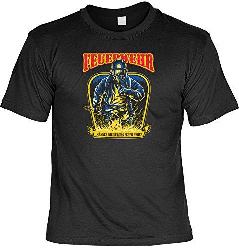 Feuerwehr T-Shirt Männer die durchs Feuer gehen Shirt bedruckt Geschenk Set mit Mini Flaschenshirt Schwarz