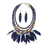 Joyería de Mujer Pendiente Collar Babero Tribal Pluma Borla Estilo de Bohemio - Azul