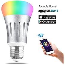Unitify Lampadine Intelligenti con Amazon Echo Alexa & Google Home Timer Lampade RGB Led E27/E26 Telecomando Cambia Colore, Ddimmerabile, Calendario, Scene Scelte, da Smartphone Android / iOS