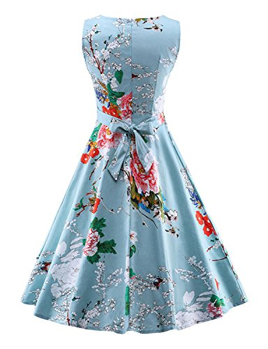 Kimring Women's 1950's Vintage Floral Print Casual Cocktail Party Swing Dress Aqua-blu