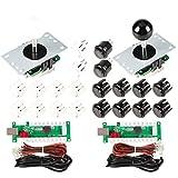 EG STARTS Arcade DIY Kits Controller USB Encoder per PC Giochi 8 Vie Stick + 4X 24mm + 16x 30mm Pulsanti per Arcade Cabinet Joystick Mame Raspberry Pi 1 2 3 KOF Parts Bianco/Nero