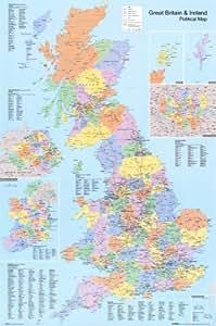 Affiche 'Carte administrative du Royaume-Uni', Taille: 61 x 91 cm