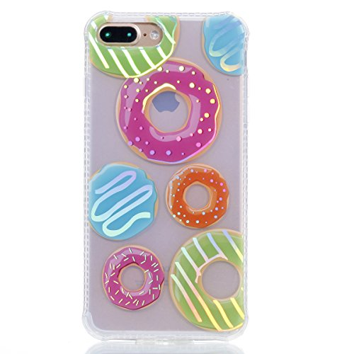 Apple iPhone 8 Plus 5.5 Hülle, Voguecase Schutzhülle / Case / Cover / Hülle / Plating TPU Gel Skin (Transparente-Donuts 11) + Gratis Universal Eingabestift Transparente-Donuts 11