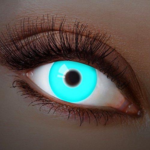 Farbige Kontaktlinsen Blau Ohne Stärke Blaue Motiv-Linsen Farbig Jahreslinsen Halloween Karneval Fasching Cosplay Crazy Kostüm UV Neon Deep Ice (Spaß Kontaktlinsen)