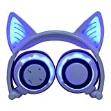 LIMSON Drahtlose Bluetooth-Kopfhörer über Ohr, Faltbare Nachladbare Katze-Ohr-Headsets mit Mic LED-Licht-Glühenden Kind-Headphones Compatible für Mobiltelefone, iPad, iPhone, Laptop, Computer (Weiß)