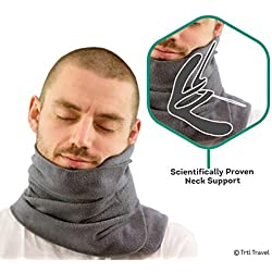 Trtl Pillow - Wissenschaftlich belegt super weiches Nacken unterstützendes Reisekissen - Waschmaschinenfest Grau