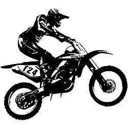 azutura Dirt Bike Trick Wandtattoo Motocross Motorrad Wand Sticker Jungen Schlafzimmer Dekor verfügbar in 5 Größen und 25 Farben X-Groß Schwarz