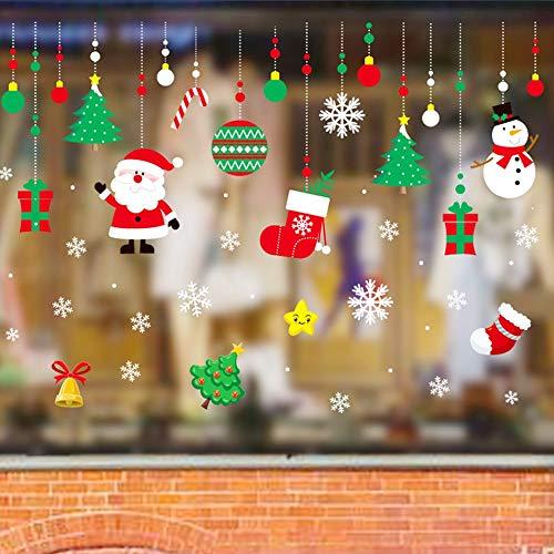 Weihnachtsdeko Wandaufkleber Christmas Shop 70x50cm Fenster Dekoration Weihnachtsmotive PVC Wand Abnehmbare Aufkleber Weihnachten Selbstklebend Fenstersticker Fenstertattoo