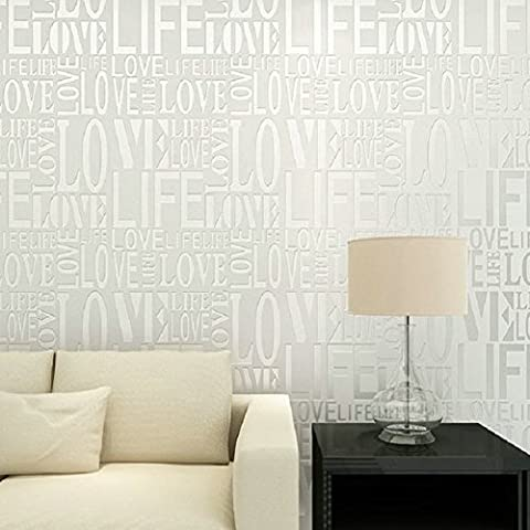 Dream's Story Non woven Wall Stickers, Embossed Love Letter Textured Murals Modern Background Wallpaper Roll for Living Room Bedroom TV Backdrop Hotel Decor 0.53 * 10m (20.9*393.7inches) (White)