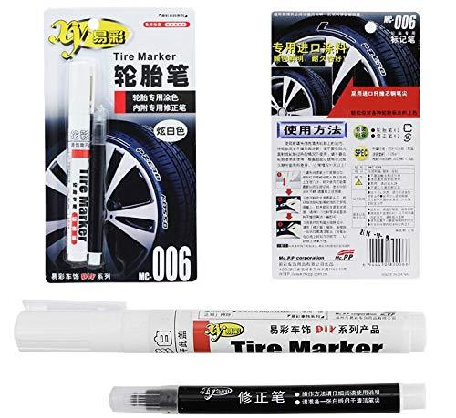 BEMLP weiß DIY Tire Reifen Industrie Marker Set mit schwarz Korrektur Pen Trim Permanent Marker Paint Auto Moto für Toyota Honda Harley Tire Tinte Paint Pen