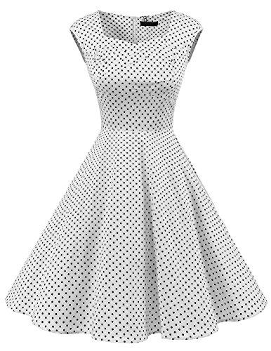Dresstells Vintage 1950's Audrey Hepburn robe de soirée cocktail style années 50 Rockabilly Swing White Small Black Dot