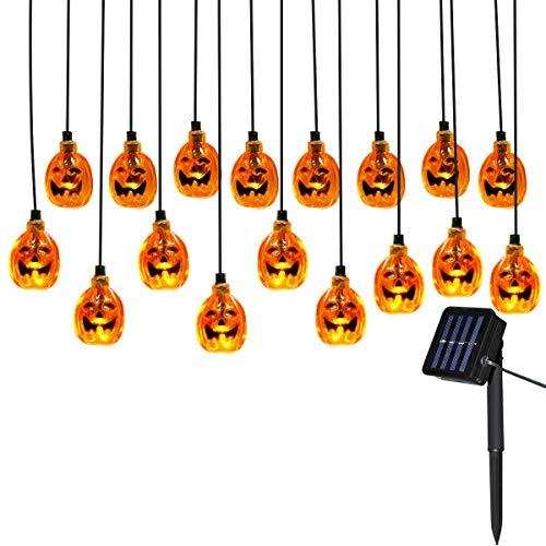 Yasolote 4.8m 20 led luci solari ghirlanda, luci stringa all'aperto di halloween, luci decorative zucca led per halloween, natale, patio, casa