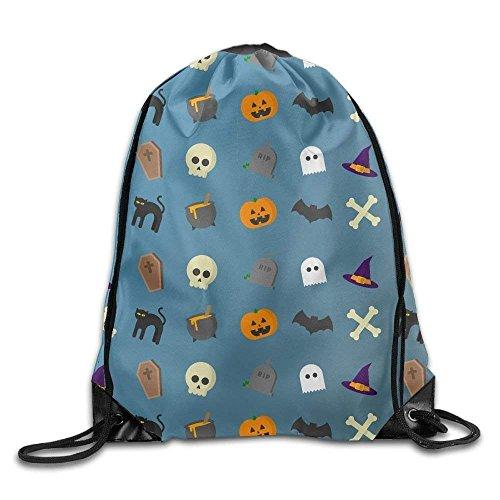 HiExotic Eco-Friendly Turnbeutel Hipster Unisex Halloween Cats Pumpkin Bat Pattern Print Tote Sack Bag Rucksack Drawstring Backpack Travel Bag Daypack (Diy Hipster Halloween)