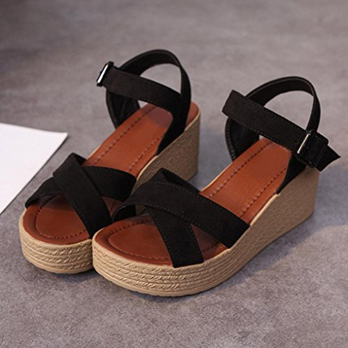 Damen Schuhe,Sannysis Mode Sommer Piste mit Flip Flops Sandalen Loafers Schuhe Schwarz