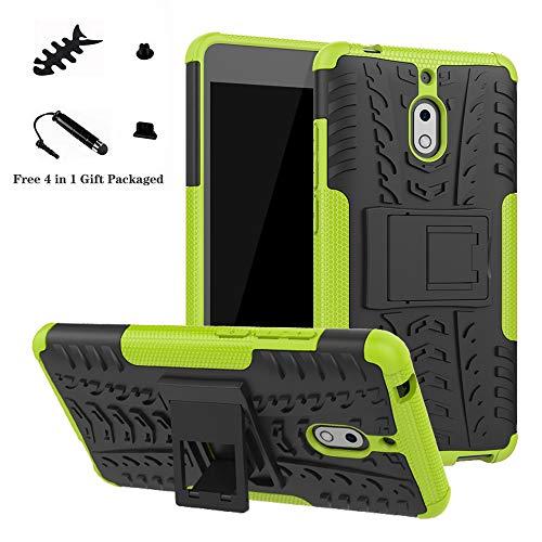 LiuShan Nokia 2.1 Hülle, Dual Layer Hybrid Handyhülle Drop Resistance Handys Schutz Hülle mit Ständer für Nokia 2.1 (Not fit Nokia 3.1) Smartphone,Grüne