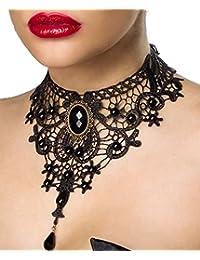 AT Gothic-Halsband mit Brosche mit Anhänger Burlesque Collier aus Spitze in schwarz