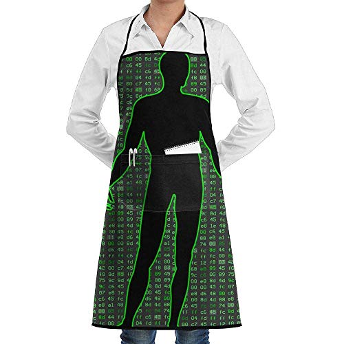 Grill Aprons Kitchen Chef Bib Programmer Cool Man Kitchen Cooking Aprons with 2 Pockets for Women and Men-Adjustable Neck Strap Apron Pocket Programmer