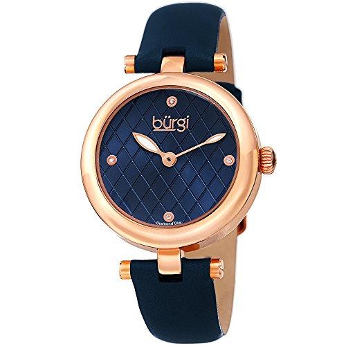 Burgi Femme Bur196bu Diamant Accentuée Argyle Cadran Or Rose et Bleu Bracelet Cuir Montre