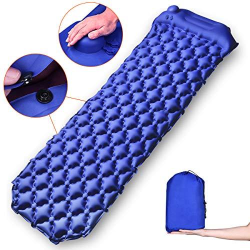 YUECHAO Isomatte Camping Selbstaufblasend Kompressionsdesign kleines Packmaß - Aufblasbare Luftmatratze mit Kissen - Tragbare Ultraleichte Schlafmatte für Camping Reise Outdoor Wandern Strand, MEHRWEG