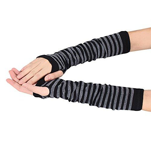 OSYARD Damen Wrist Warmers Halbfinger Handschuhe Armwärmer Wollhandschuhe Winterhandschuhe Strickhandschuhe, Winter Handwärmer Gestreift Gestrickt Lange Fingerlose Handschuhe Fäustlinge Pulswärmer