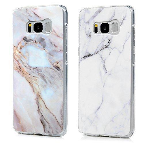 S8 Marmor Hülle, KASOS Marble Handyhülle Silikon Case Weich TPU Huelle mit IMD Technologie für Samsung Galaxy S8, Grau weiß + Jade
