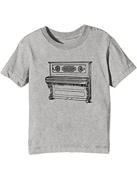 Piano Niños Unisexo Niño Niña Camiseta Cuello Redondo Gris Manga Corta Todos Los Tamaños Kids Unisex Boys Girls...