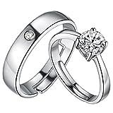 HMILYDYK - Juego de alianzas de boda para hombre y mujer, chapados en plata de ley 925, ajustables, circonita cúbica de corte redondo, 4 puntas