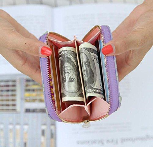 Ylen Mini Portafoglio Gatto Supporto della Carta Piccola Borsetta Borsa della Moneta per Donne Ragazze Viola