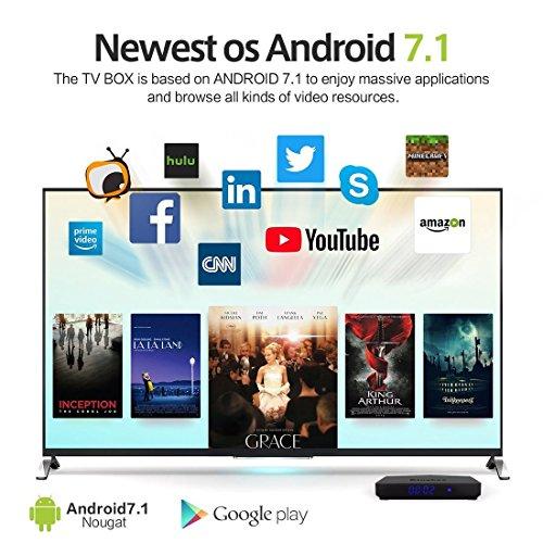Kingbox K3 Android 7.1 TV Box de 2GB RAM + 16GB ROM/S912/1000M LAN/Bluetooth 4.0/2.4G + 5G Dual WiFi/4K/64 Bit/Octa Core/H.265 con Mini Teclado Inalámbrico Gratuito   [2018 Última Edición]
