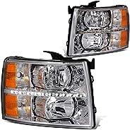 DNA Motoring HL-LED-CSIL07-BK-AM Black amber Pair LED DRL Strip Headlight/Lamp [For 07-14 Chevy Silverado] HL-