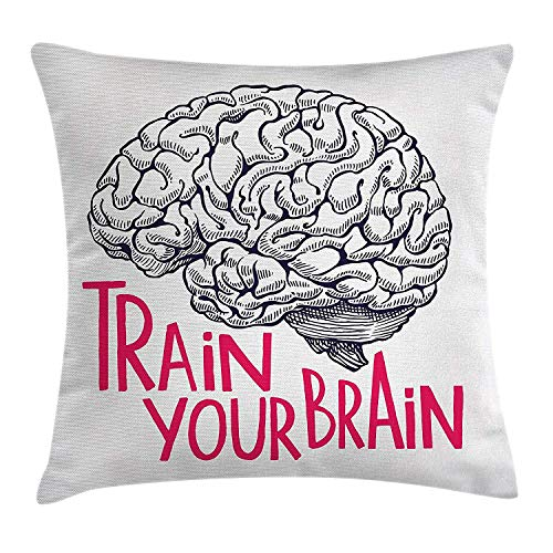 ge Throw Pillow Cushion Cover, Positive Quote on Human Brain Intelligence Head Skull Humor Modern Image Art, Decorative Square Accent Pillow Case, 18 X 18 Inches, Pink Dark Blue ()