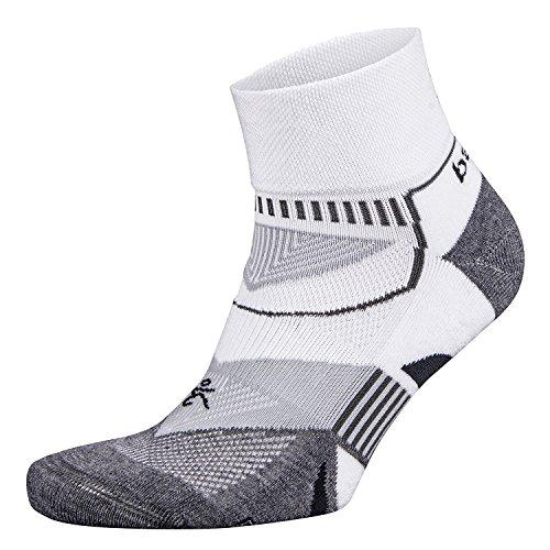 Balega Enduro V-Tech Quarter Sock, White/Grey, Medium (Running No Show Sock)